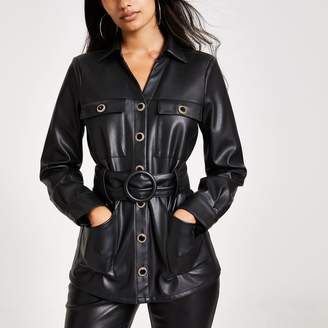 River Island Womens Black faux leather long sleeve belted shirt