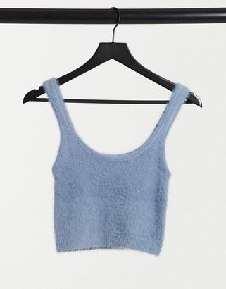 Stradivarius fluffy knit crop top in blue