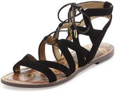 Sam Edelman Gemma Suede Flat Lace-Up Sandal, Black