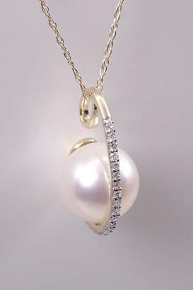 """Margolin & Co Yellow Gold Diamond and Pearl Drop Pendant Necklace, 18"""" Chain"""