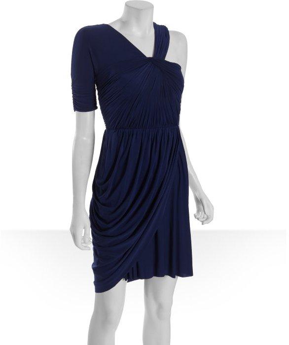 BCBGMAXAZRIA blue depth jersey 'Christina' asymmetrical dress