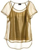 Mossimo Women's Shine High-Low Cap Sleeve Shirt -Green