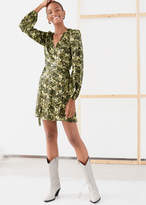 And other stories Floral Puff Sleeve Mini Wrap Dress