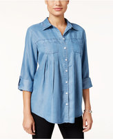 Style&Co. Style & Co. Petite Striped Denim Tab-Sleeve Shirt, Only at Macy's