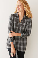 J. Jill Embroidered Plaid Tunic