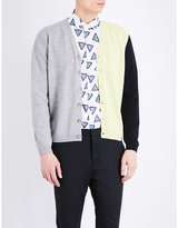 Kenzo Colour-block Wool And Cashmere-blend Cardigan