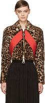 Givenchy Leopard Print Red Sash Cropped Biker Jacket