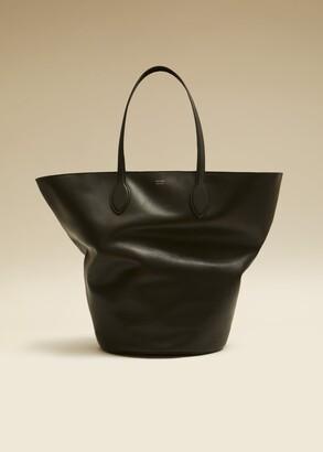 KHAITE The Medium Circle Tote in Black Leather