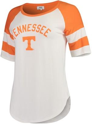 Women's White/Tennessee Orange Tennessee Volunteers Piko Avery Football Stripe T-Shirt