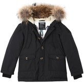 Bomboogie Nylon Down Coat W/ Fur Trim
