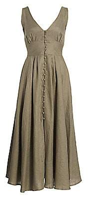 Cult Gaia Women's Angela Buckle Linen Maxi A-Line Dress