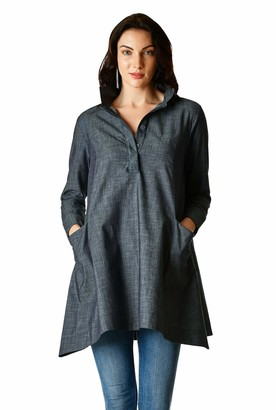 eShakti Women's Cotton Chambray Trapeze Tunic Shirt UK Size 16 / Regular Height Indigo Chambray