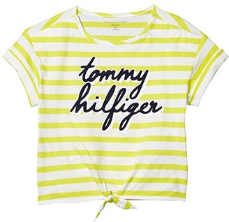 Tommy Hilfiger Adaptive Script T-Shirt (Little Kids/Big Kids) (Banana Peel/Multi) Women's Clothing