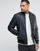 Bellfield Padded Leather Look Bomber Jacket