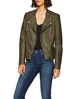 ONLY NOS Women's Onlava Faux Leather Biker Otw Noos Jacket, Grey Kalamata), Small 8 UK (Manufacturer Size: )