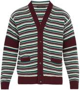 Prada V-neck striped wool-blend knit cardigan