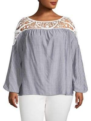 1.STATE Plus Lace Yoke Stripe Blouse