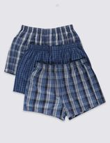 Marks and Spencer 3 Pack Pure Cotton Easy to Iron Checked Boxers