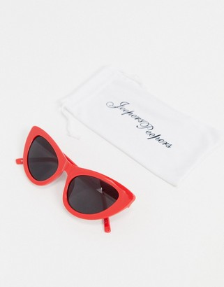 Jeepers Peepers cat eye sunglasses in red
