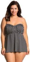 Penbrooke Plus Size Neautral Spot Shirred Bodice Tankini Top 8136171