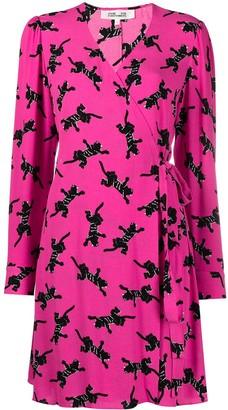 Diane von Furstenberg Animal-Print Long-Sleeved Midi Dress