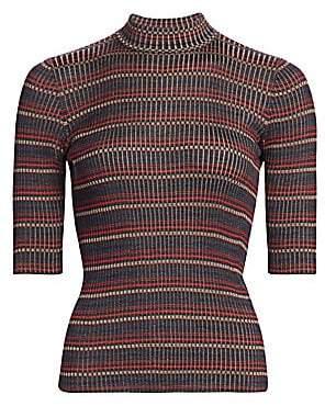 Akris Women's Silk Knit Striped Mockneck Tee