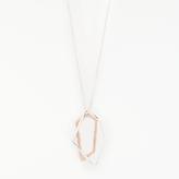 John Lewis Angular Pendant Necklace, Silver/Rose Gold