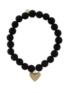 Sydney Evan Diamond Pave Heart Onyx Beaded Bracelet