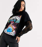 Rokoko fortune teller graphic t-shirt with lace long sleeves