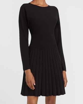 Express Pleated Fit And Flare Sweater Dress