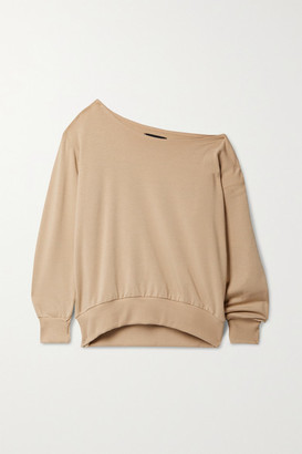 L'Agence Kimora One-shoulder Stretch Cotton And Modal-blend Sweatshirt - Camel