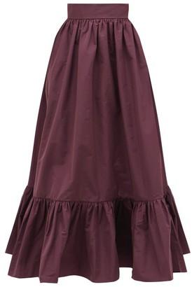 Valentino Gathered-hem Cotton-blend Faille Maxi Skirt - Womens - Purple