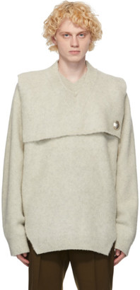 Jil Sander Grey Wool Pin Sweater
