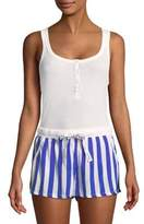 Calvin Klein Two-Piece Henley Tank and Stripe Shorts Pajama Set