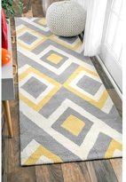 nuLoom Handmade Geometric Triangle Grey Runner Rug (2'6 x 8')