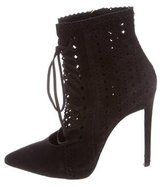 Roberto Cavalli Perforated Suede Pointed-Toe Ankle Boots