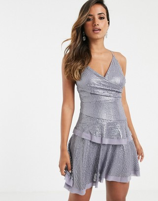 Asos Design DESIGN cami mini dress in occasion sequin-Purple