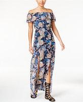 Sequin Hearts Juniors' Floral-Print Off-The-Shoulder Maxi Dress