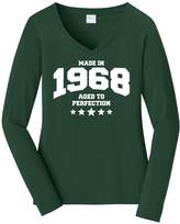 Tenacitee Women's Athletic Aged to Perfection - 1968 Long Sleeve V Neck T-Shirt