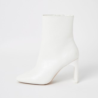 River Island Womens White textured high heel boots