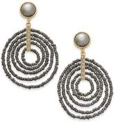 INC International Concepts Gold-Tone Beaded Spiral Orbital Drop Earrings, Only at Macy's