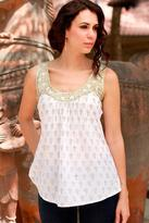 Block Printed White Cotton Top with Golden Embellishments, 'Golden Lotus'