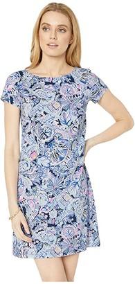 Lilly Pulitzer Short Sleeve Bay Dress (Iris Blue Namastay in The Jungle) Women's Clothing
