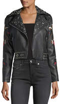 Free Generation Floral Embroidered Moto Jacket