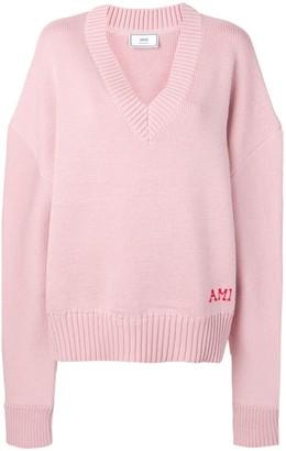 Ami Paris oversized V-neck jumper