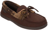 Dearfoams Men's Microsuede Boater Moccasin with Memory Foam