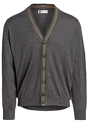 Brunello Cucinelli Men's Stripe Rib-Knit-Trim Cashmere Silk Cardigan
