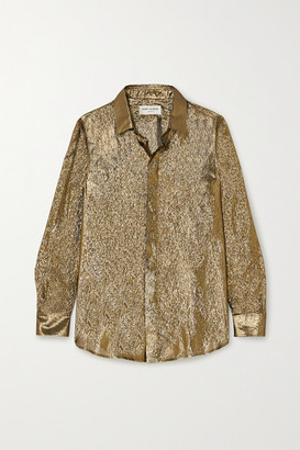 Saint Laurent Metallic Silk And Lurex-blend Blouse - Gold