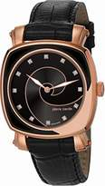 Pierre Cardin Fresque Women's Quartz Watch with Black Dial Analogue Display and Black Leather Strap PC105642S05
