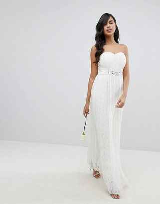 Lipsy Bridal Multiway Allover Lace Maxi Dress with Sash Belt-White